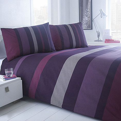 Home Collection Basics - Plum +Denver Striped+ bedding set
