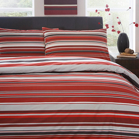 Home Collection Basics - Red +Columbia+ striped bedding set