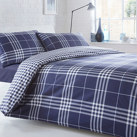 Home Collection Basics - Navy +Hugo+ check bedding set