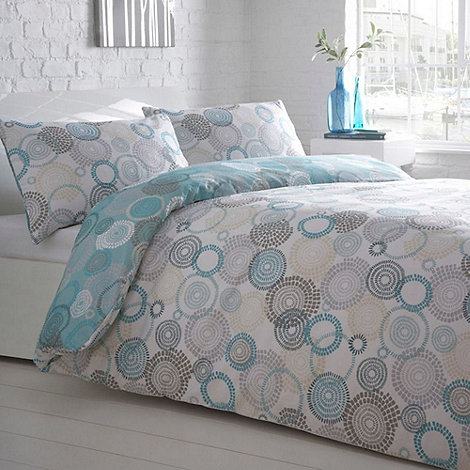 Debenhams - Aqua +Mosaic Circled+ Reversible Bedding Set