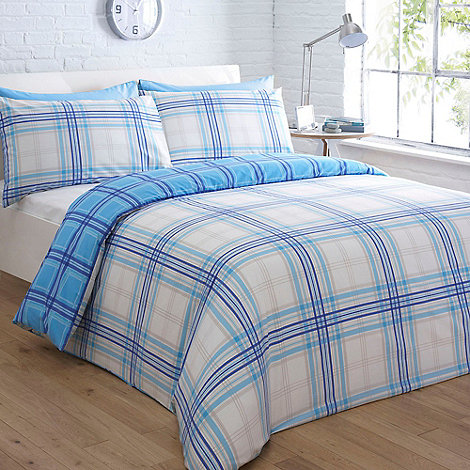 Home Collection Basics - Blue checked +Austin+ bedding set