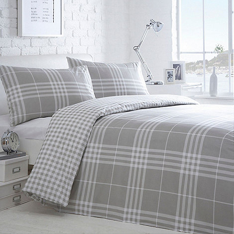white bedroom furniture suite also blue blanket plus gray | Home Collection Basics Grey checked 'Hugo' bedding set ...