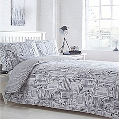 Home Collection Basics - White printed 'Cityscape' bedding set