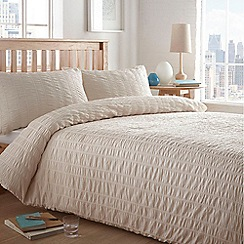 Home Collection Basics - Cream textured 'Seersucker' bedding set