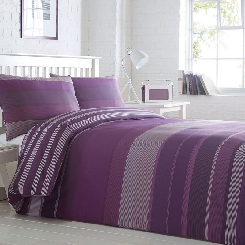 Home Collection Basics Purple striped 'Stanford' striped bedding set
