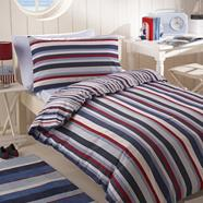 Blue striped bedding set