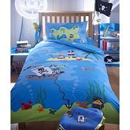 Boy's blue 'Treasure Island 'single bedding set