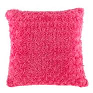 Pink faux fur cushion