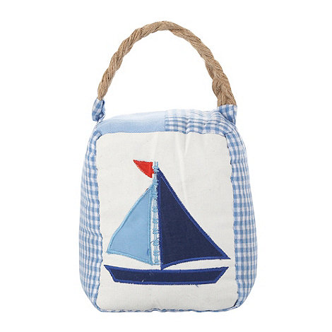 Gisela Graham - Blue patchwork boat door stop