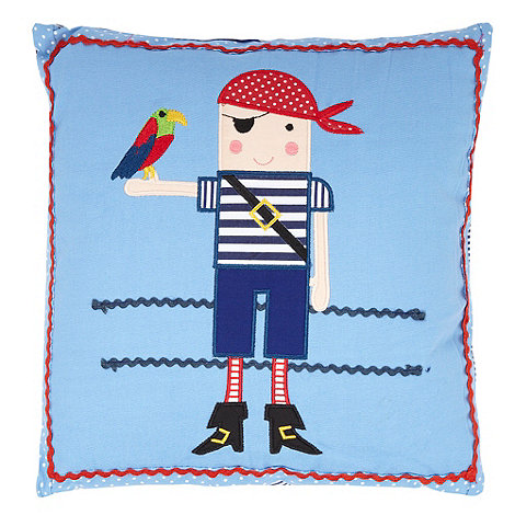 Gisela Graham - Blue +Pirates+ embroidered cushion
