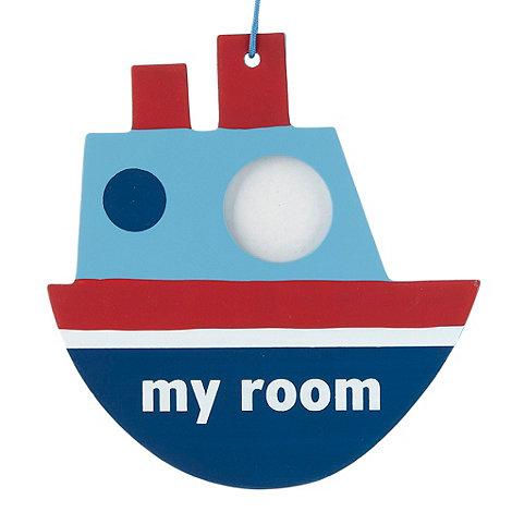 Gisela Graham - Blue ship hanging door sign