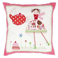 Pink 'Tea Party' embroidered cushion