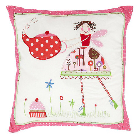 Gisela Graham - Pink +Tea Party+ embroidered cushion