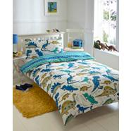 Blue 'Dinosaurs' single bedding set