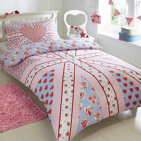 bluezoo - Kid+s pink floral union jack bedding set