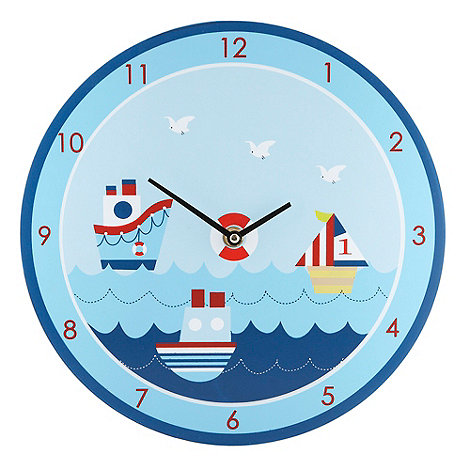 Gisela Graham - Blue printed ship wall clock