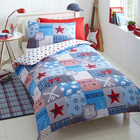 bluezoo - Kid+s blue +sports patchwork+ bedding set