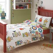 Boy's white 'Robots' single bedding set