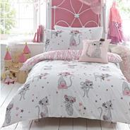 Girl's white 'Glitter Cats' bedding set