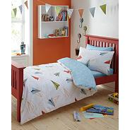 Designer boy's white 'Paper Planes' bedding set