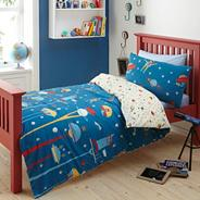 Blue 'Cosmonaught' single bedding set