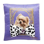 Designer purple dog embellished cushion