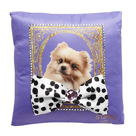 Star by Julien Macdonald - Designer purple dog embellished cushion