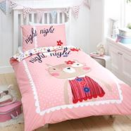 Pink cat printed bed linen