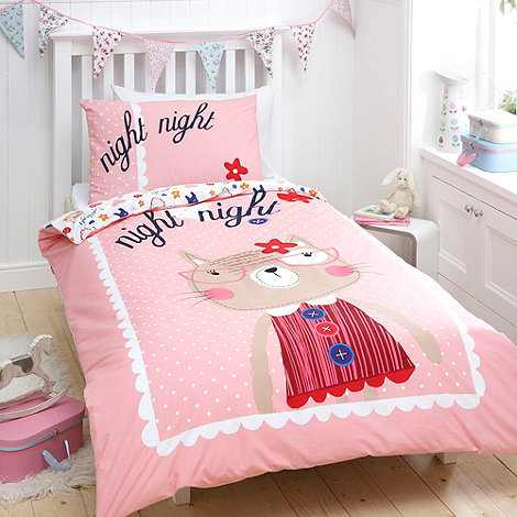 bluezoo - Pink cat printed bed linen