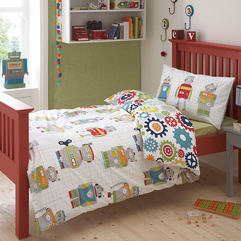 Ben de Lisi Home - Kid+s white +robots+ single bedding set