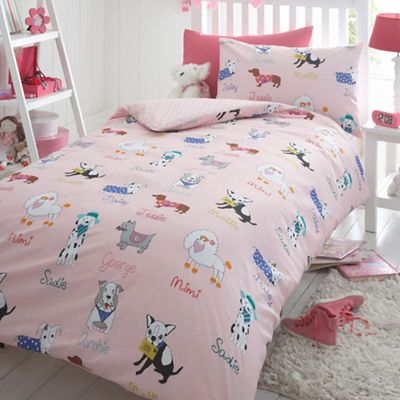 Bluezoo Kids 39 Pink Dogs Duvet Cover And Pillow Case Set