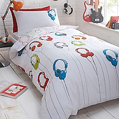 bluezoo - Kids' white 'Headphones' reversible duvet cover and pillow case set