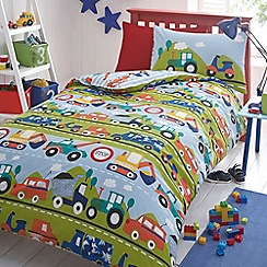 bluezoo - Kids' blue 'Transport' duvet cover and pillow case set