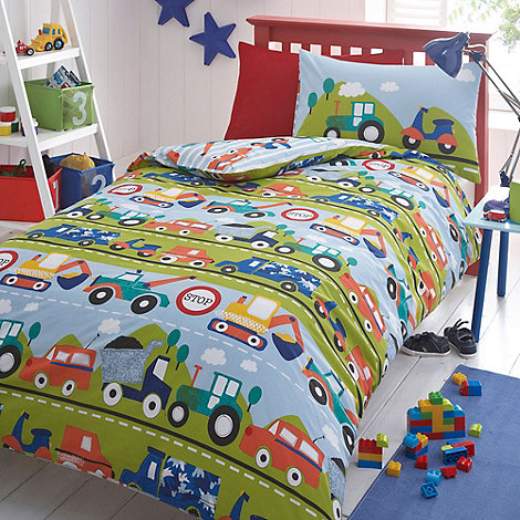 Bluezoo Kids Blue Transport Duvet Cover And Pillow Case