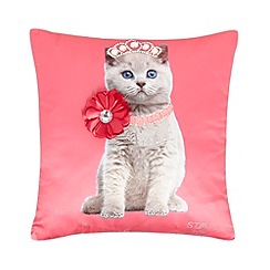 Star by Julien Macdonald - Designer pink tiara cat cushion
