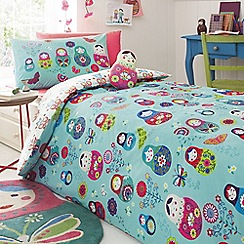 Butterfly Home by Matthew Williamson - Kids' blue 'Russian Doll' print duvet cover and pillow case set