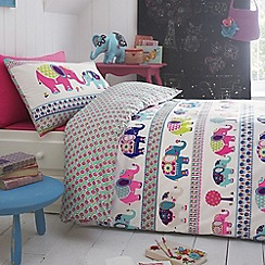 Butterfly Home by Matthew Williamson - Kids' white elephant print duvet cover and pillow case set