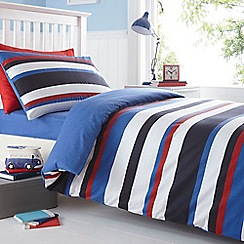 bluezoo - Kid's blue striped brushed cotton flannelette bedding set