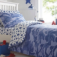 bluezoo - Kid's blue camouflage and star print bedding set