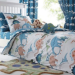 bluezoo - Kids' blue dinosaur print duvet cover and pillow case set
