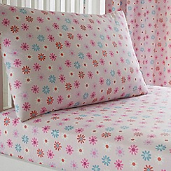 bluezoo - Pink floral print fitted sheet and pillow case set