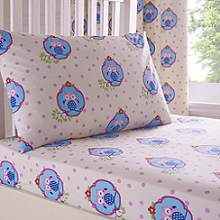 bluezoo - Kid's cream owl print fitted sheet set