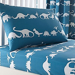 bluezoo - Kid's blue dinosaur fitted sheet set