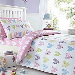 bluezoo - Kids' pink heart print duvet cover and pillow case set