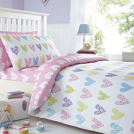Bluezoo Kids Pink Heart Print Duvet Cover And Pillow Case
