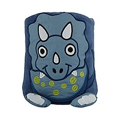 bluezoo - Children's blue dinosaur fleece blanket