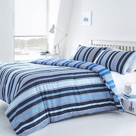 Debenhams - Blue +Addison+ striped bedding set