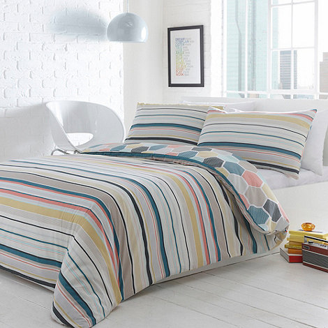 Debenhams - Multi +Carmel+ striped bedding set