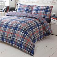 Grey Brit checked bedding set