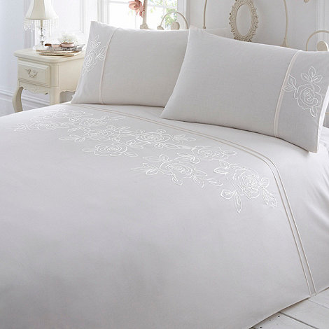 Debenhams - Cream +Victoria+ floral tape bedding set